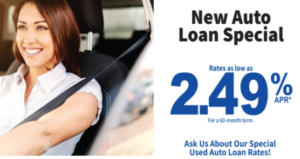 New Auto Rate 2.49% for 60 months