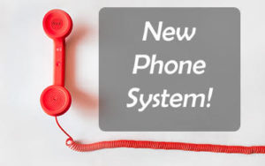 Picture of Phone announcing new phone system.